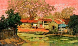 Tranh sơn mài - chủ đề làng quê
